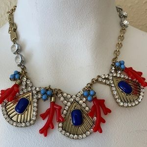 Statement Necklace Coral and Blue